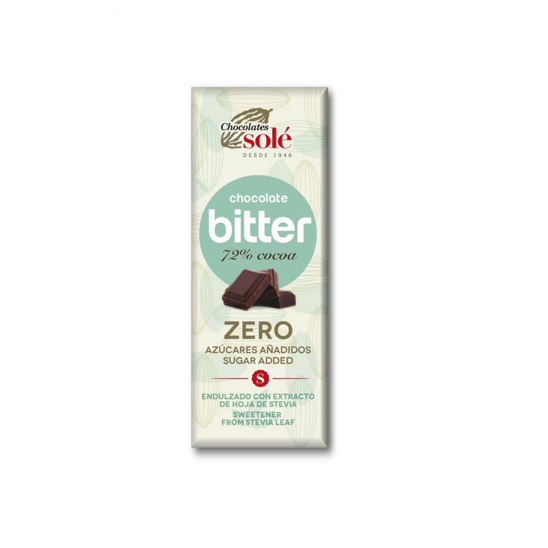 Bitter Chocolate 72% Cocoa Sweetened with Stevia 25 g