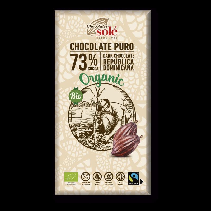 Chocolat noir 73 % de cacao BIO 100 g