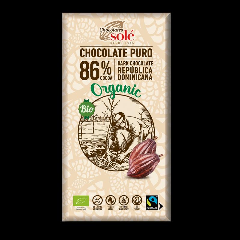 Chocolat noir 86 % de cacao BIO 100 g
