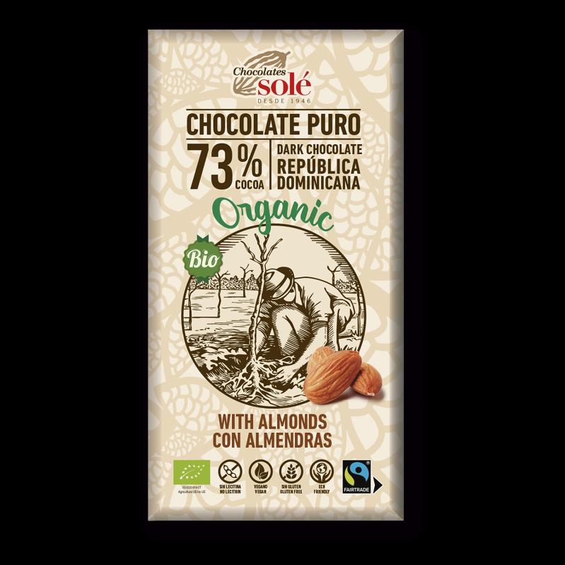 Chocolate Negro 73%  Cacao con Almendras 150g BIO
