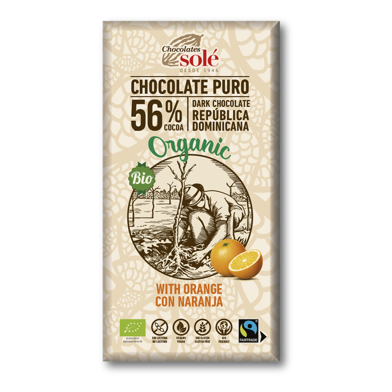 Chocolat au lait à l'orange BIO 100 g