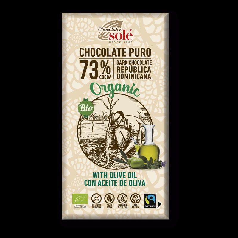Chocolat noir 73 % de cacao BIO à l'huile d'olive 100 g