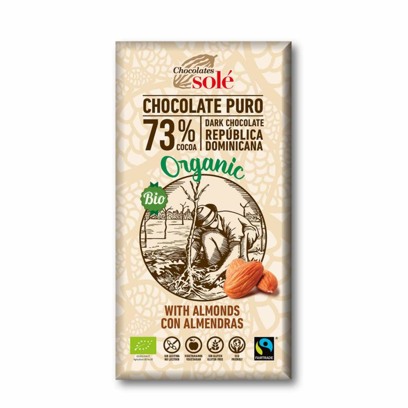 Dark Chocolate BIO 73% Cocoa with Almonds 150 g