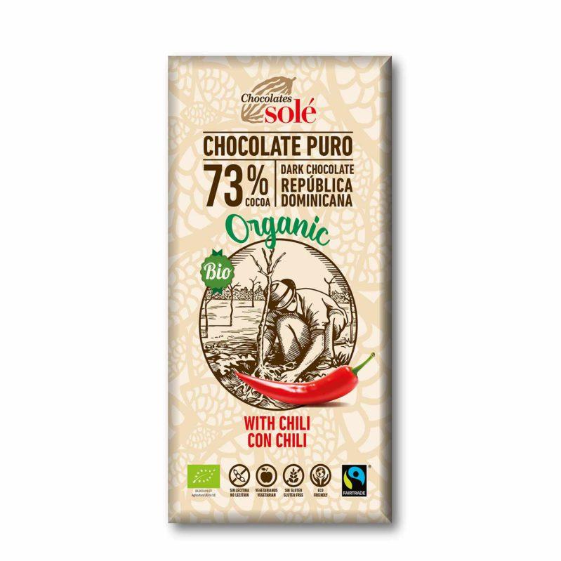 Chocolate Negro 73%  con Chili 100g BIO