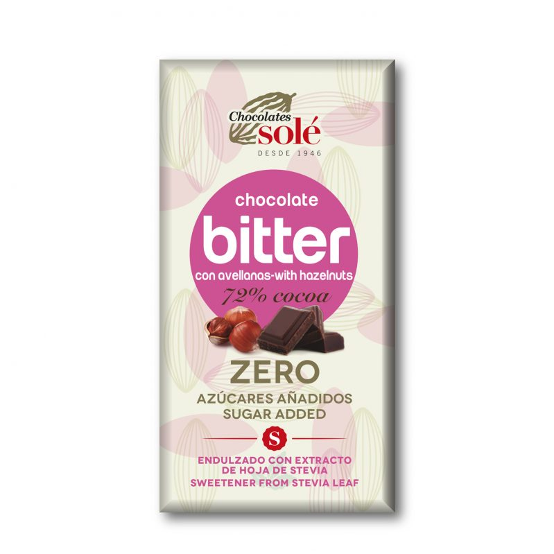 Bitter Chocolate 72% Cocoa with Stevia and Hazelnuts 100 g