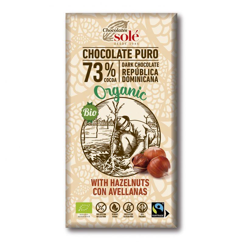 Chocolate Negro 73 % Cacao con Avellanas 150g BIO