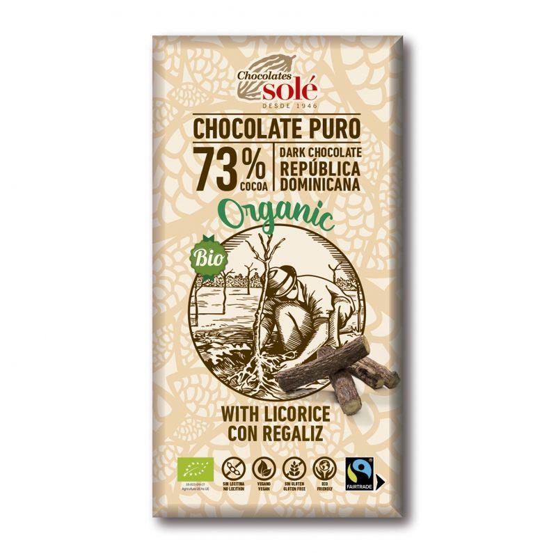 Chocolate Negro 73 % Cacao con Regaliz BIO