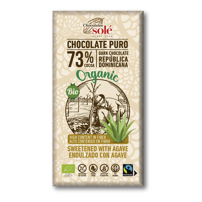 Dark Chocolate BIO 73% Cocoa with Agave 100 g -Sucrose Free-
