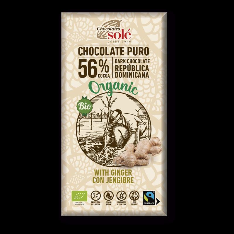 Chocolat noir BIO au gingembre 100 g