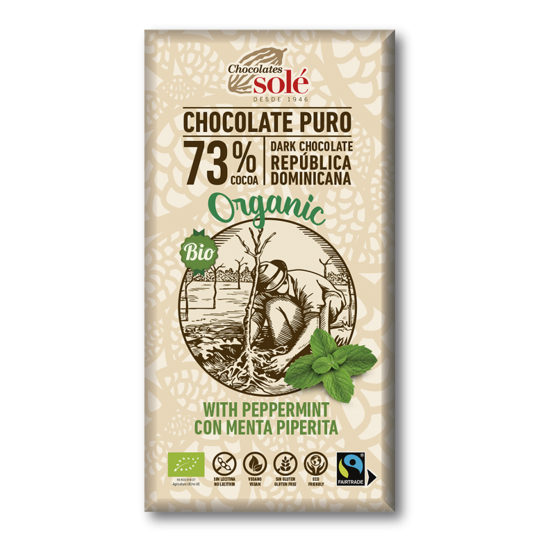 Dark Chocolate BIO 73% Cocoa with Peppermint 100 g