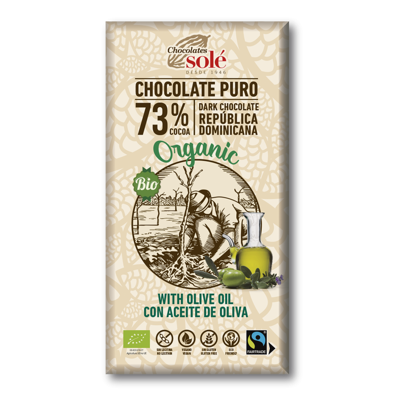 Dark Chocolate BIO 73% Cocoa with Olive Oil 100 g
