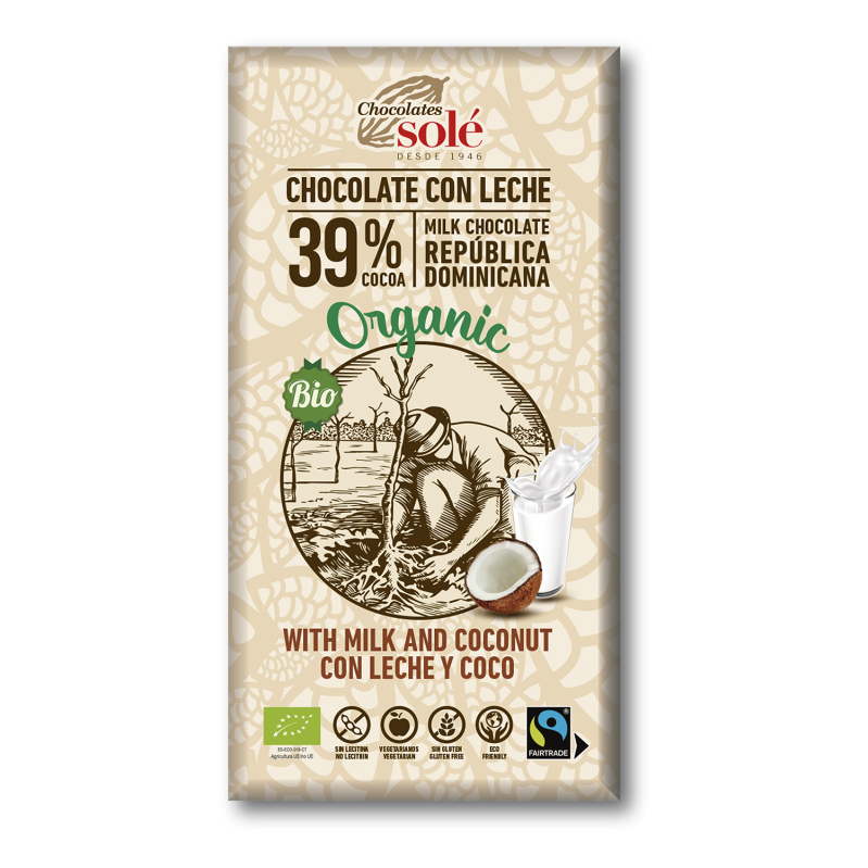 Chocolat au lait et à la noix de coco BIO 100 g