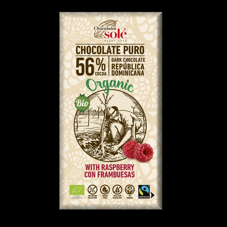 Chocolat noir BIO à la framboise 100 g