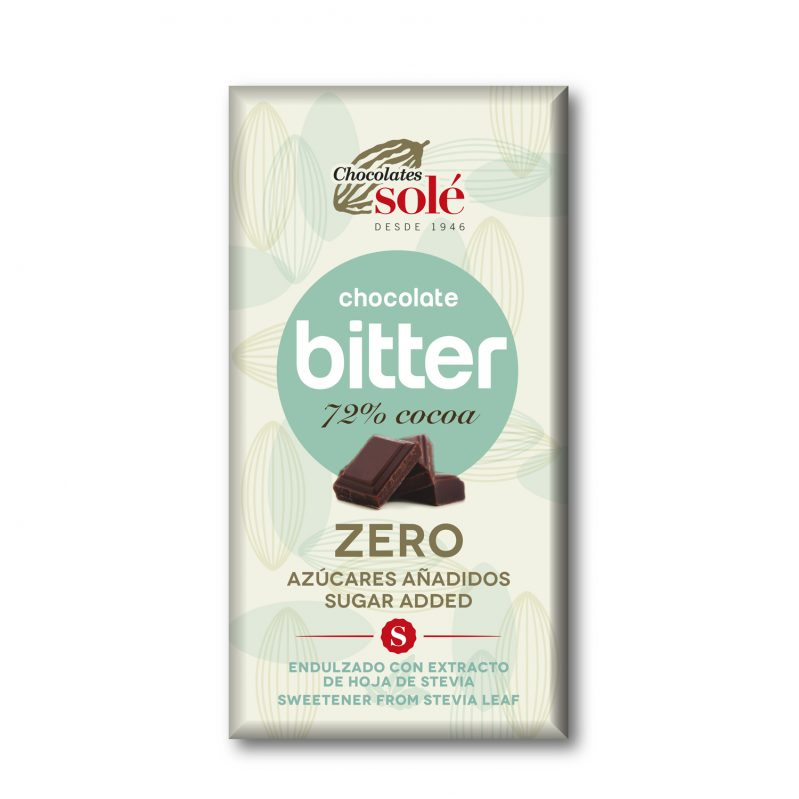 Bitter Chocolate 72% Cocoa Sweetened with Stevia 100 g