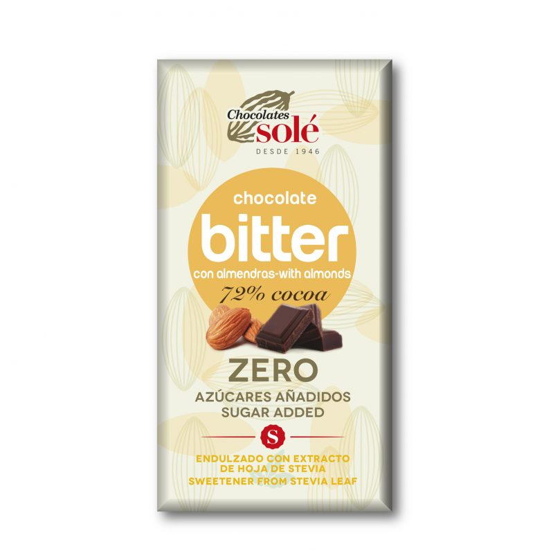 Bitter Chocolate 72% Cocoa with Stevia and Almonds 100 g